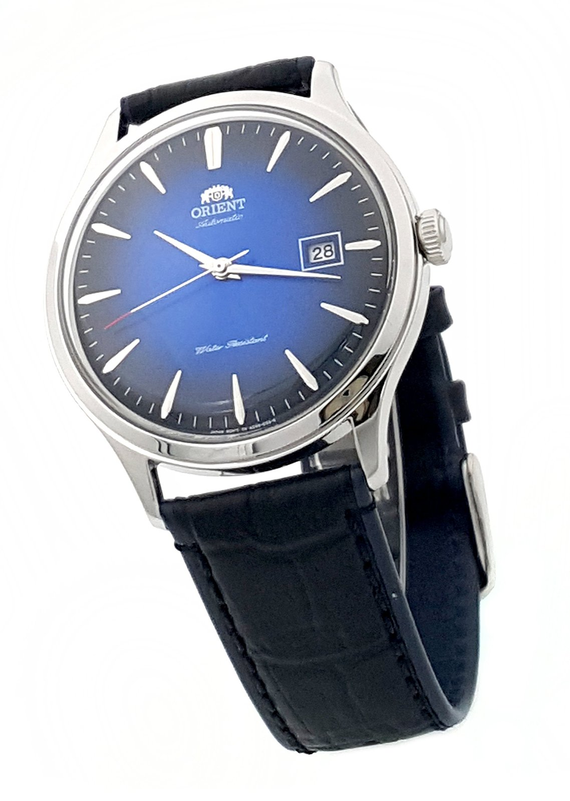 Orient bambino 4 classic automatic with hand winding blue gradient dial watch wristwatches for Gradient dial watch