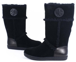 Tory Burch Amelie Shearling Boots - NEW Size 5 Black - $193.05