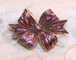 Joan Rivers Holiday Bow Brooch Pin Enamel Rhinestone Crystal Burgandy Purple image 2