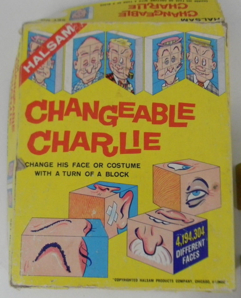 Vintage Halsam Changeable Charlie #10 4194304 Different Faces Turn of a Block