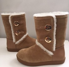 Tory Burch Amelie Split Suede Shearling Boots - NEW Size 5 Brown - $193.05