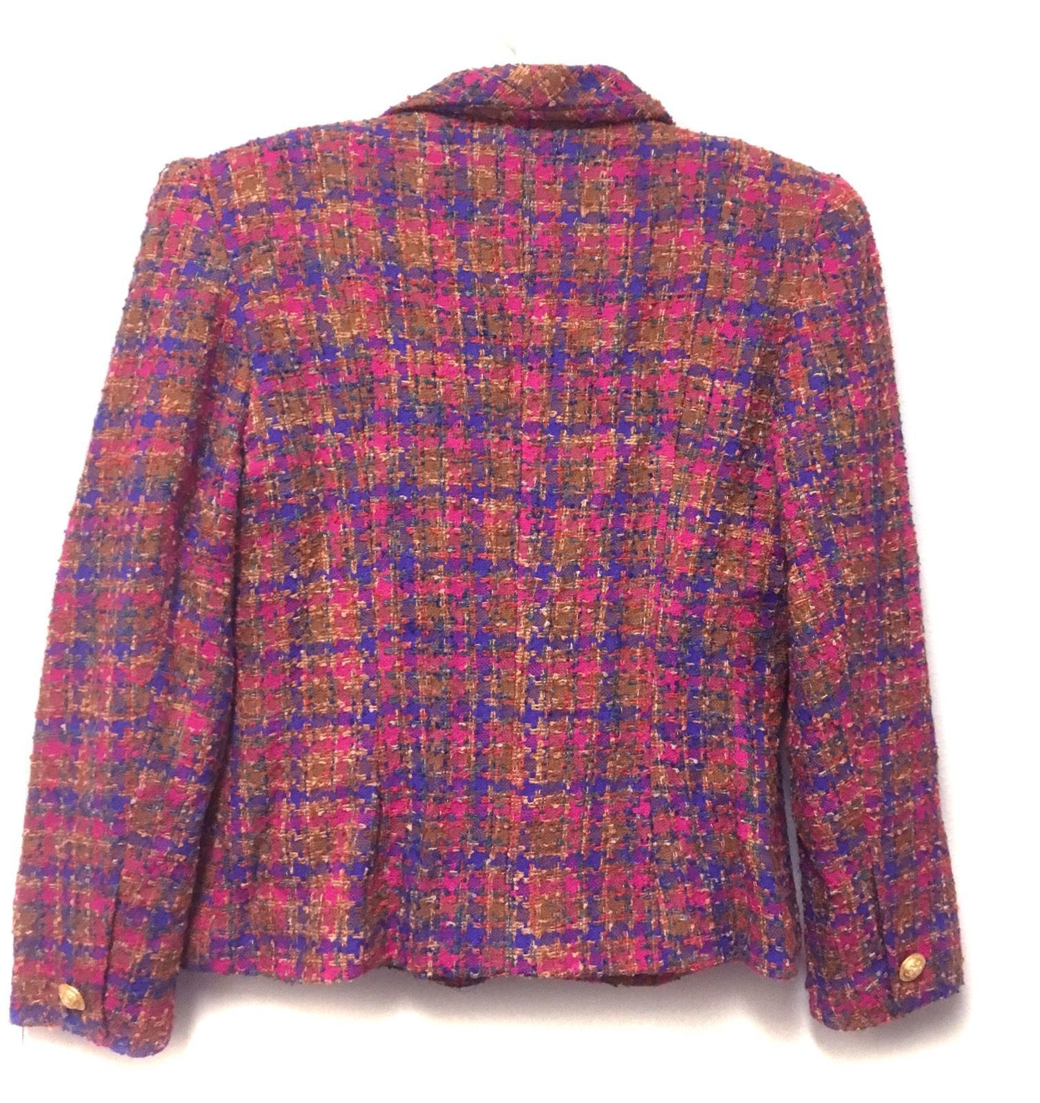 MICHAEL Wool Jacket Blue Pink Tan Purple lined Tweed Woven Double Breasted 10