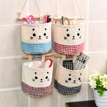 1 Pc Cotton & Linen Fabric Lovely Cartoon Hanging Storage Bag Sundries Box - €1,96 EUR+