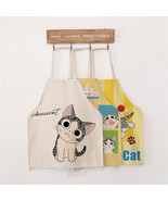 Funny Cartoon Cat Cotton Linen Apron Party Decor BBQ Kitchen Cooking Cloth - £2.14 GBP+