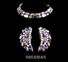 Vintage Sherman BRacelet - Designer Rhinestone clip on earrings  Aurora ... - $155.00