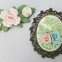 2 Vintage Handmade Rose Brooch Pins Victorian Pink Blue Polymer Clay Jew... - $11.50