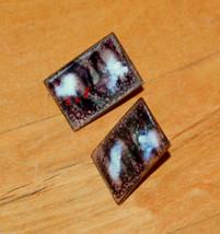 vintage rectangle screw earrings enamel - $3.95