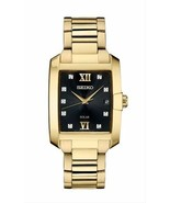 New Seiko Solar Diamond Dial Gold Tone Stainless Steel Men's Watch SNE462 - $258.39