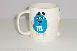 M&M's M&M Coffee Mug Candy Red Blue Yellow 3-D Cup Vintage Retired  - $39.95