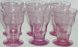 Balda Floral Etched Pink Juice Glass Depression Alexandrite Vintage Lot of 2 - $199.95
