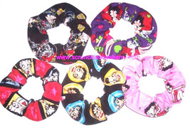 Betty Boop Hair Scrunchie Biker Hearts Fabric  Scrunchies by Sherry - $6.99+