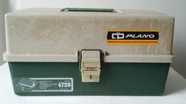 Vintage Plano Fishing Tackle Tool Parts Box 4720 2 Fold up Trays 2 Tier - $17.81