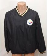 Pittsburgh Steelers Mens M Football NFL Black Lined Pullover Windbreaker... - $37.06