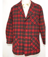 Pendleton Mens M Red Plaid Wool Sport Coat Leather Buttons Vintage Short... - $73.50