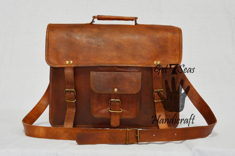 Leather computer bag men's shoulder laptop women briefcase vintage satchel Bags