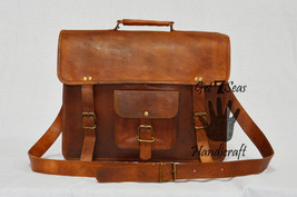 Leather computer bag men's shoulder laptop women briefcase vintage satch... - $53.05