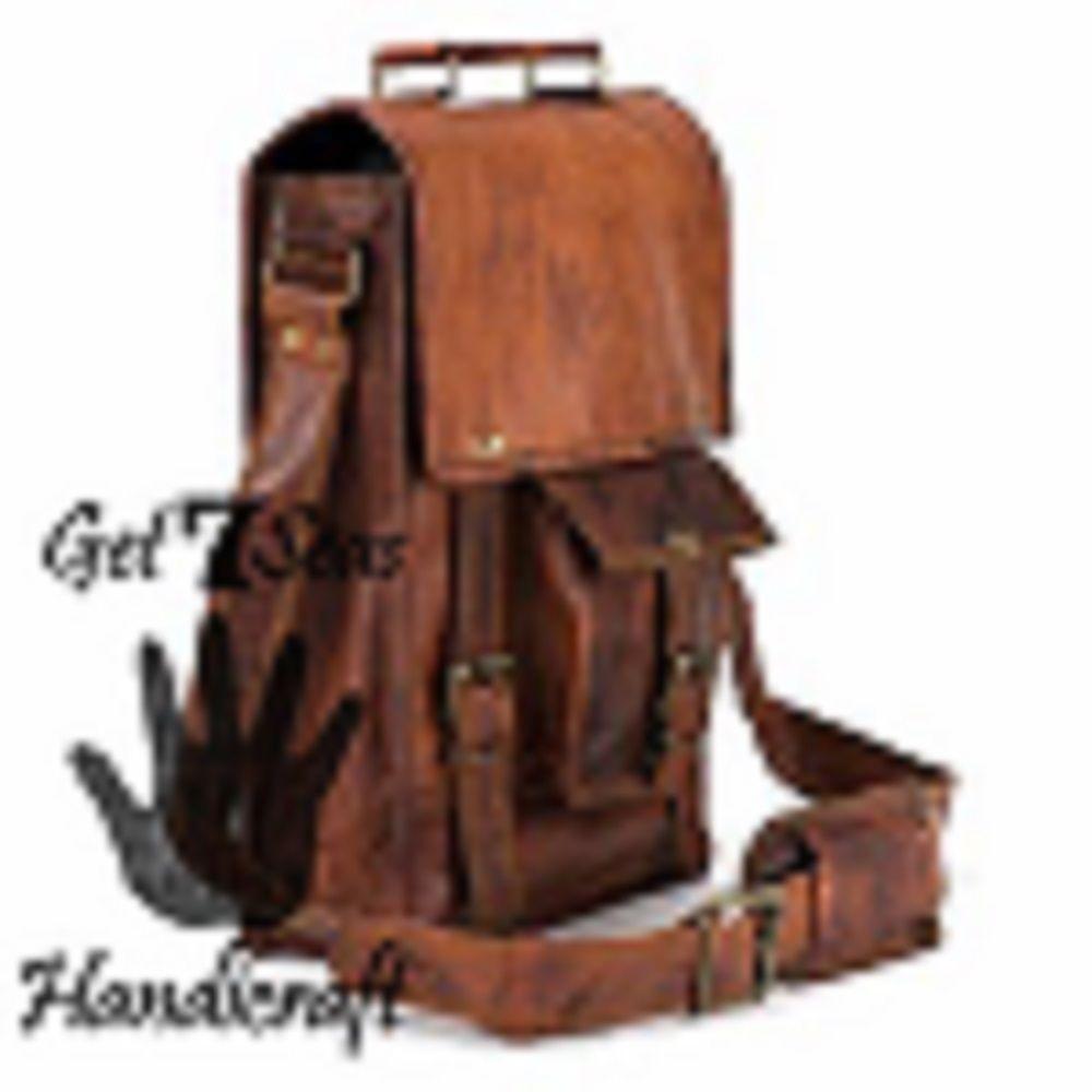 Men's leather vintage laptop backpack rucksack messenger bag satchel women bags