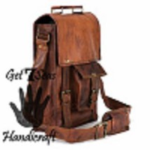 Men's leather vintage laptop backpack rucksack messenger bag satchel wom... - $45.14