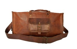 Men's leather travel weekender bag overnight duffle women carry all hold all gym - $99.58