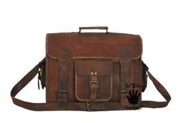 Leather briefcase men's shoulder laptop women brown satchel messenger men bags - $67.90