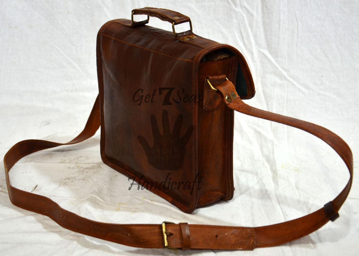 Leather computer bag men's shoulder laptop women men messenger briefcase vintage