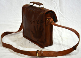 Leather computer bag men's shoulder laptop women men messenger briefcase... - $49.73