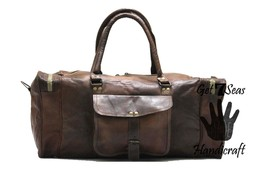 Men's leather duffle bag travel weekender overnight women large luggage spots - $89.69