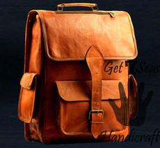 Men's genuine leather vintage laptop men backpack rucksack messenger bag satchel - $54.68
