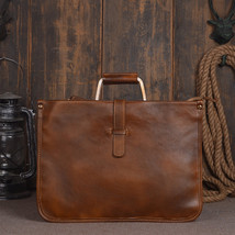 Handmade Mens Genuine Leather Vegetable Tanned Leather Briefcase - $109.99