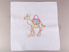 Vintage Quilt Piece - Colorful Playful Camel with Taxi Saddle - Free Shi... - $5.00