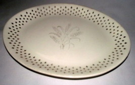 "Golden Wheat Platter Homer Laughlin Fleur de lis USA Vtg Gold 13"" Oval W... - $39.59"