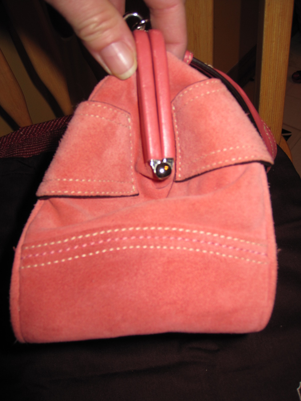 COACH Limited Edition Pink Suede Kisslock Satchel Special Occasion Bag - Amazing