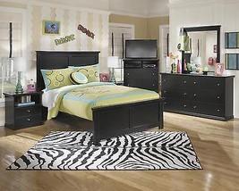 Ashley Maribel B138 Full Size Panel Bedroom Set 5pcs in Black Casual Style