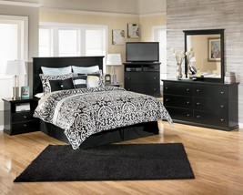 Ashley Maribel B138 King Size Panel Bedroom Set 5pcs in Black Casual Style
