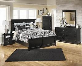 Ashley Maribel B138 Queen Size Panel Bedroom Set 5pcs in Black Casual Style
