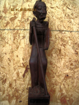 Vintage Dark Brown Wooden Statue Feat. Old Wise Priestly Man w/ A Robe &... - $225.00