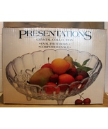 Indiana Clear Glass Oval Embossed Footed Bowl Centerpiece - $7.99