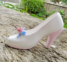 Denton China England Miniature Shoe. Collectible White with Pink Heel bl... - $9.49
