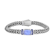 Phillip Gavriel Sterling Silver Woven Blue Chalcedony and Blue Sapphire ... - £372.20 GBP