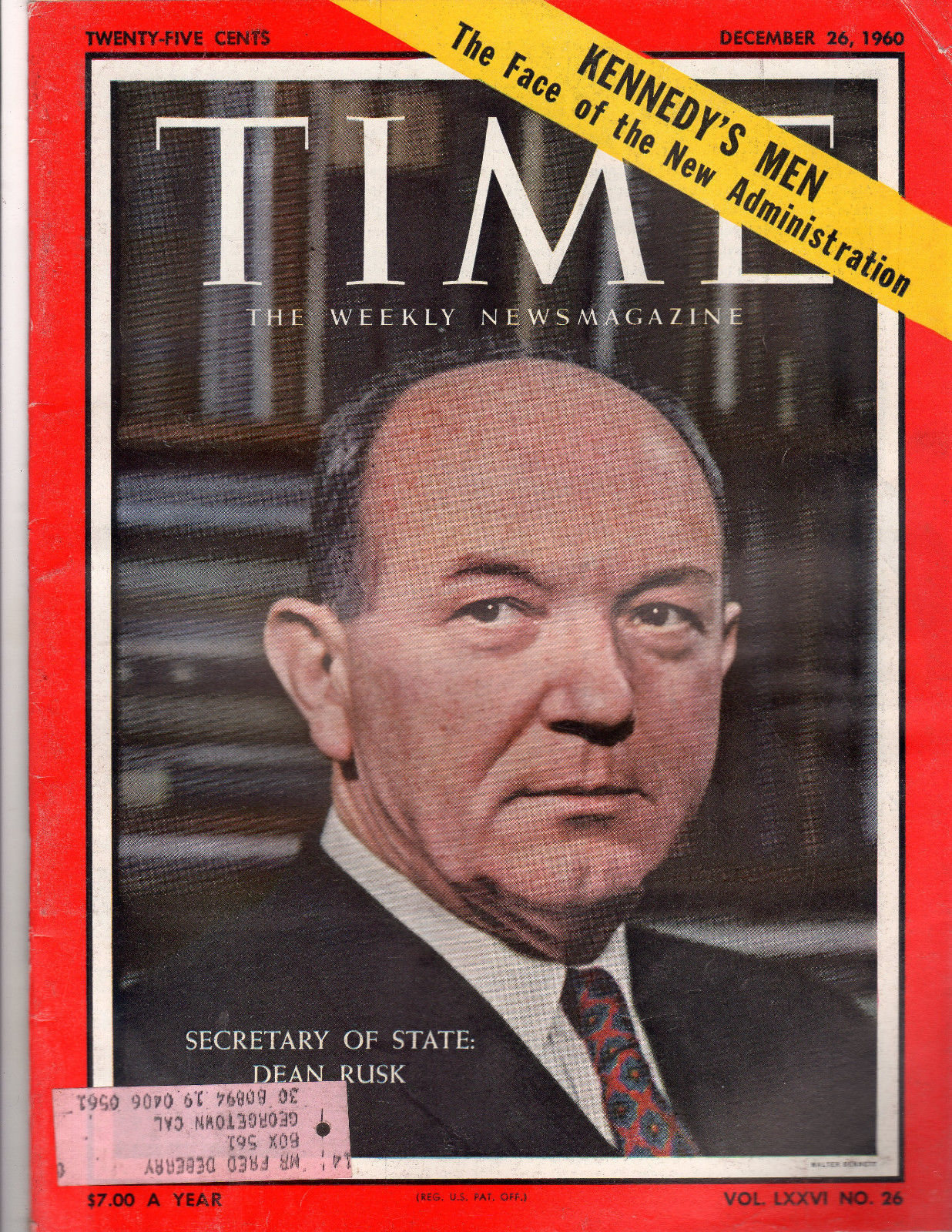Time Magazine 1960, December 26, Secretary Of State: Dean Rusk