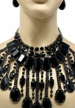Luxurious Bib Cleopatra Necklace Earrings Black Acrylic Rhinestones Drag... - $89.30