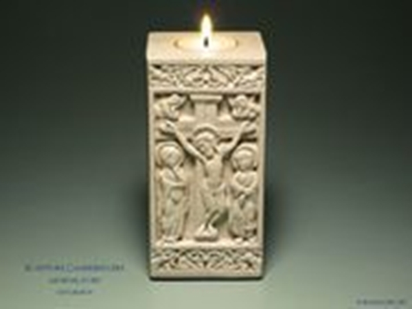 The crucifixion   medieval sculpture candle holder
