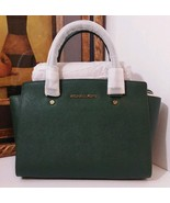NWT Michael Kors Selma Medium TopZip Satchel Saffiano Leather Moss MSRP ... - $269.99