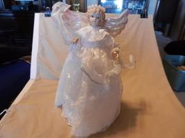 Angel with Luminous Wings, Resin Hair & Head Christmas Tree Topper - $31.67