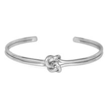 Silver Double Knot Cuff Bracelet, Interlocking Infinity Love Knot Bracelet - $10.00