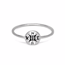 Tiny Silver Compass Ring, Thin 925 Sterling Silver Compass Ring - £9.13 GBP