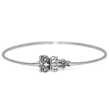 Silver Owl Bracelet, Silver Plated Wisdom Spirit Animal Charm Bangle Bra... - $7.00