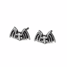 Oxidized Bat Stud Earrings, Solid 925 Sterling Silver Jewelry, Halloween  - $10.00