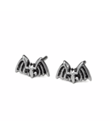 Oxidized Bat Stud Earrings, Solid 925 Sterling Silver Jewelry, Halloween  - $13.12 CAD