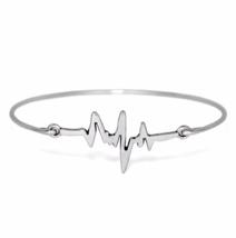 Silver Heartbeat Bracelet, Thin Silver Plated Zigzag Bangle Bracelet - $7.00